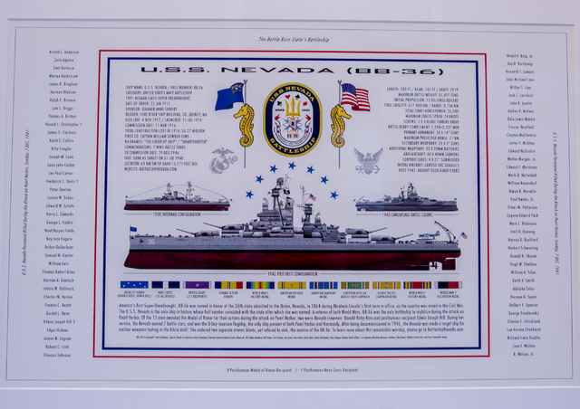A display of different configurations of the U.S.S. Nevada (BB-36) battleship with a list of names who were killed on the ship on December 7, 1941, at the Las Vegas Review-Journal, Wednesday, Nov. ...