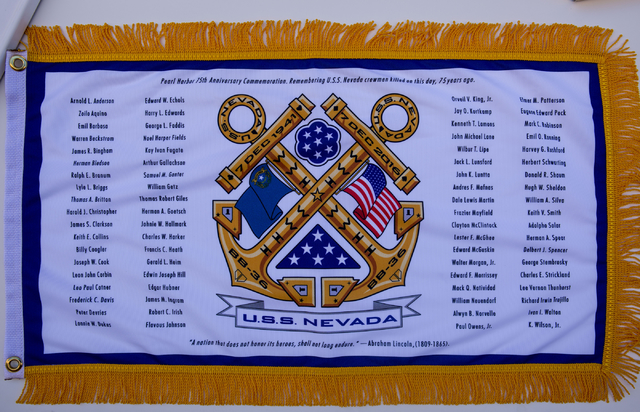 A battle flag listing the names who were killed on December 7, 1941 on the U.S.S. Nevada (BB-36) pictured at the Las Vegas Review-Journal, Wednesday, Nov. 2, 2016, in Las Vegas. Elizabeth Page Bru ...