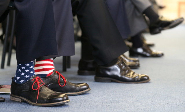 Former Navy Seal Lt. Jason Redmon sports patriotic socks for the USS Nevada Centennial Ceremony at the Capitol in Carson City on Friday, March 11, 2016. Cathleen Allison/Las Vegas Review-Journal