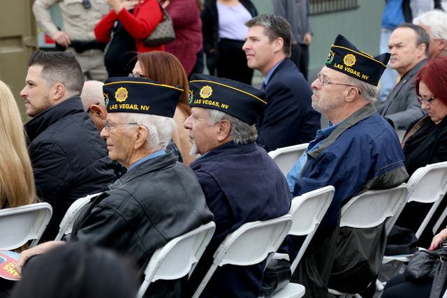 Veterans from VFW Post 14, Don Freund, left, Jerry Bootzin and Roger Dziadosz, attend the opening ceremony and ribbon cutting for the second Veterans Village in downtown Las Vegas on on Thursday,  ...
