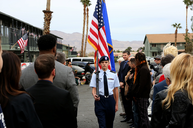 Rancho High School's ROTC presents colors for the opening and ribbon cutting ceremony of Veterans Village second location in downtown Las Vegas on Thursday, Dec.15, 2016.(Michael Quine/Las Vegas R ...
