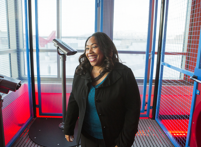 Tifferney White, CEO and president of Discovery Children's Museum, 360 Promenade Place, takes in a view of Las Vegas in the Summit exhibit on Friday, Dec. 16, 2016. Jeff Scheid/Las Vegas Review-Jo ...