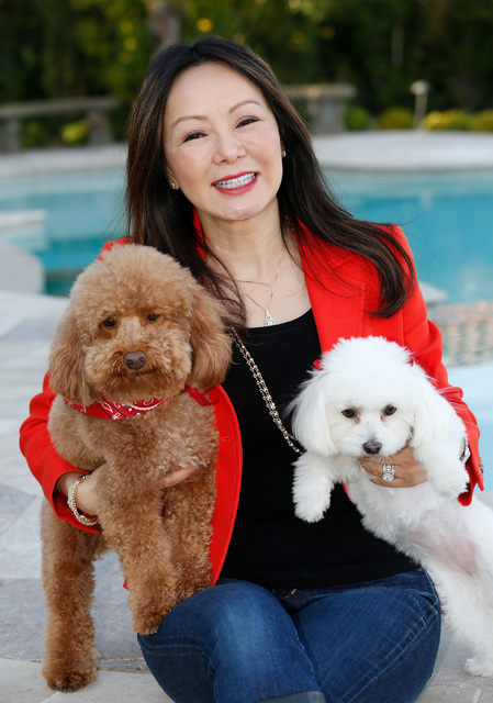Dr. Kate Zhong, a geriatric psychiatrist and pharmacologist, poses for a photo with her dogs Teddy, left, and Ella in her home in Henderson, Monday, Nov. 28, 2016. Chitose Suzuki/Las Vegas Review- ...