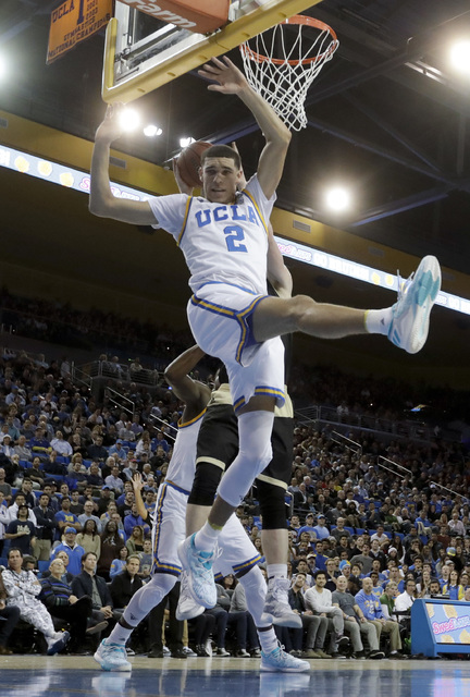 UCLA guard Lonzo Ball tries for a rebound during the first half of the team's NCAA college basketball game against Western Michigan in Los Angeles, Wednesday, Dec. 21, 2016. (Chris Carlson/AP)