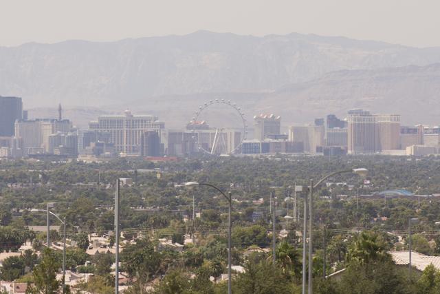 The Las Vegas skyline is seen from Hollywood Boulevard near Charleston Boulevard in Las Vegas Saturday, Aug. 20, 2016. (Jason Ogulnik/Las Vegas Review-Journal)
