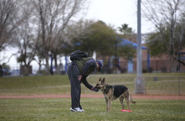 Matt Rebarchick gives water to his dog Payton at Willows Park in the Summerlin area of Las Vegas on Friday, Dec. 30, 2016. (Chase Stevens/Las Vegas Review-Journal) @csstevensphoto