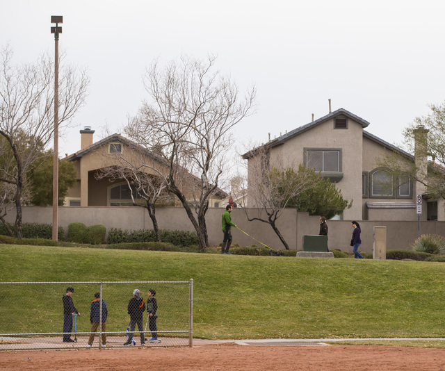 Cloudy weather at Willows Park in the Summerlin area of Las Vegas on Friday, Dec. 30, 2016. (Chase Stevens/Las Vegas Review-Journal) @csstevensphoto