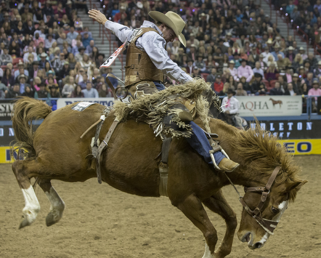 Clay Eilliot rides Son of Saddie during the saddle bronc  riding competition at during the National Finals Rodeo at the Thomas & Mack Center on Monday, Dec. 5, 2016, in Las Vegas. (Benjamin Ha ...