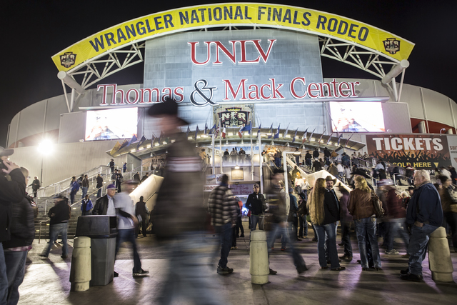 Attendees make their way into the Thomas & Mack Center on the sixth day of the National Finals Rodeo on Tuesday, Dec. 6, 2016, in Las Vegas. Benjamin Hager/Las Vegas Review-Journal