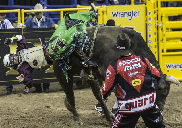 Jordan Spears rides Nose Bender during the bull riding competition at the National Finals Rodeo at the Thomas & Mack Center on Tuesday, Dec. 6, 2016, in Las Vegas. Benjamin Hager/Las Vegas Rev ...