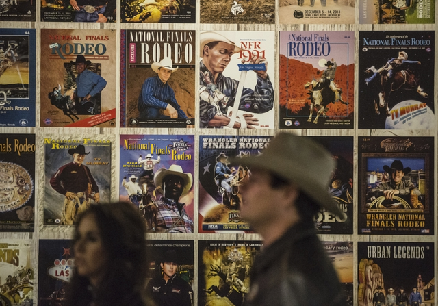 Rodeo artwork lines the walls of the Thomas & Mack Center during the sixth night of the National Finals Rodeo on Tuesday, Dec. 6, 2016, in Las Vegas. Benjamin Hager/Las Vegas Review-Journal