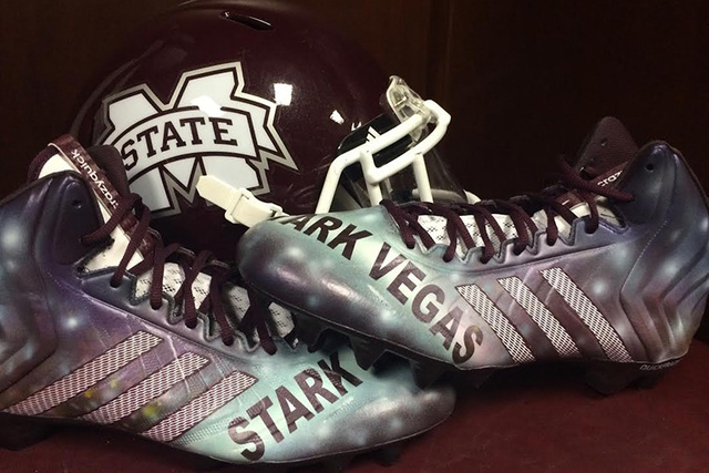 """Mississippi State's football cleats were stenciled with """"Stark Vegas"""" in 2014, a nickname for the Bulldogs' hometown of Starkville, Miss. (Courtesy Addidas)"""