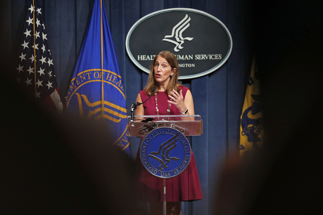 Health and Human Service (HHS) Secretary Sylvia Burwell speaks during a news conference at the HHS in Washington, Wednesday, Oct. 19, 2016.  (AP Photo/Alex Brandon)