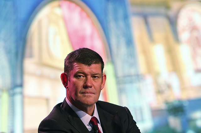 James Packer speaks during a news conference of the Studio City project in Macau, Tuesday, Oct. 27, 2015. (AP Photo/Kin Cheung)