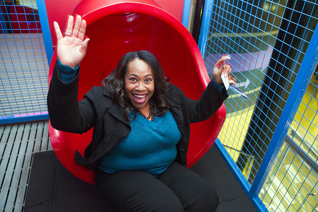 Tifferney White, CEO and president of Discovery Children's Museum, 360 Promenade Place, rides a slide in the Summit exhibit on Friday, Dec. 16, 2016. Jeff Scheid/Las Vegas Review-Journal Follow @j ...