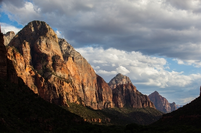 Zion National Park is seen from the Kayenta Trail on Sunday, Sept. 6, 2015. (Chase Stevens/Las Vegas Review-Journal) @csstevensphoto