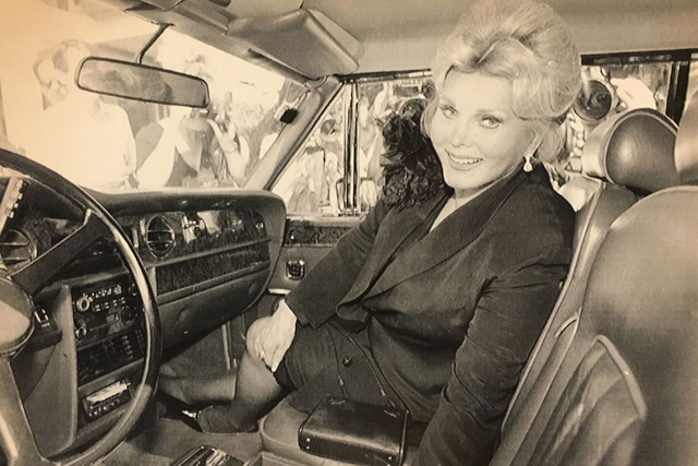 In this Sept. 28, 1989 file photo, Zsa Zsa Gabor sits in her Rolls-Royce Corniche convertible as she leaves court at lunch break of her cop-slapping trial in Beverly Hills, Calif., Thursday.