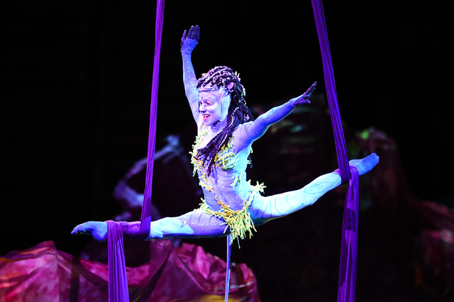 """A """"silk"""" or """"tissu"""" aerial acrobatic act might be one that Cirque-savvy locals find overly familiar in 'Toruk - The First Flight.' (Courtesy)"""
