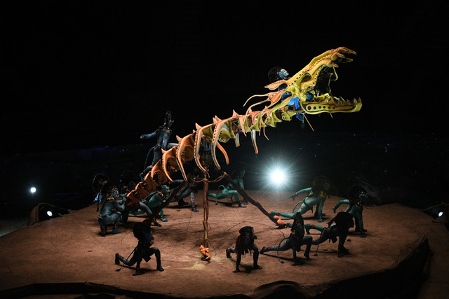 The skeleton of an extinct creature becomes an apparatus for Cirque du Soleil acrobats in 'Toruk - The First Flight.' (Courtesy)