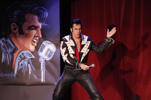 "Steve Connolly performs as Elvis in ""Spirit of the King"" at Four Queens hotel-casino on Saturday, Dec. 17, 2016 in Las Vegas. (David Guzman/Las Vegas Review-Journal) @DavidGuzman1985"