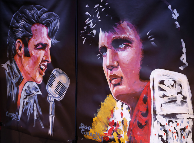 """Steve Connolly's speed paintings of Elvis (acrylic on archival paper) can be found on stage in """"Spirit of the King"""" at Four Queens hotel-casino on Saturday, Dec. 17, 2016 in Las  ..."""