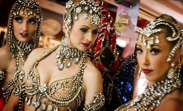 Jubilee feature dancers, Elyse Corbin, left,  Katherine Schwing and Kaleigh Jones pose for a photo in the dressing room at Bally's, 3645 South Las Vegas Boulevard, on Thursday, Feb. 4, 2016. Jeff  ...