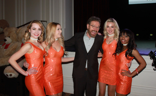 Bryan Cranston is flanked by Alina Tesla, Brandi Brennan, Kristin Morris and Lynn Blake on Friday, Jan. 6, 2017, at Bellagio in Las Vegas. (Courtesy)