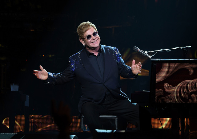 """Sir Elton John performs """"The Million Dollar Piano"""" at The Colosseum at Caesars Palace on Saturday, Dec. 31, 2016, in Las Vegas. (Denise Truscello/WireImage)"""