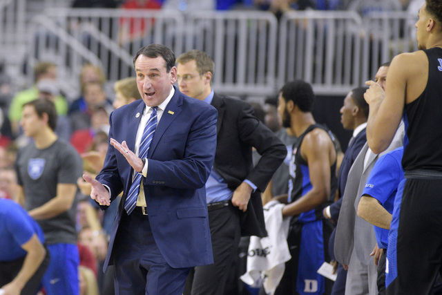 Duke head coach Mike Krzyzewski runs his team during their NCAA basketball game against UNLV Saturday, Dec. 10, 2016, at the T-Mobile Arena in Las Vegas. Duke won 94-45. (Sam Morris/Las Vegas News ...