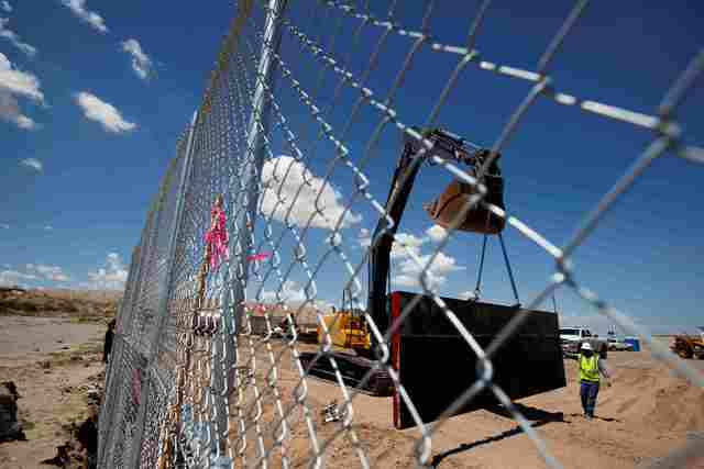 U.S. workers build a section of the U.S.-Mexico border wall at Sunland Park, U.S. opposite the Mexican border city of Ciudad Juarez, Mexico, August 26, 2016. Picture taken from the Mexico side of  ...