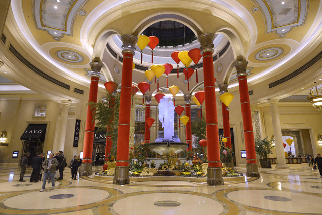 The front lobby in the Palazzo is seen decorated for Chinese New Year Friday, Jan. 20, 2017. (Sam Morris/Las Vegas News Bureau)