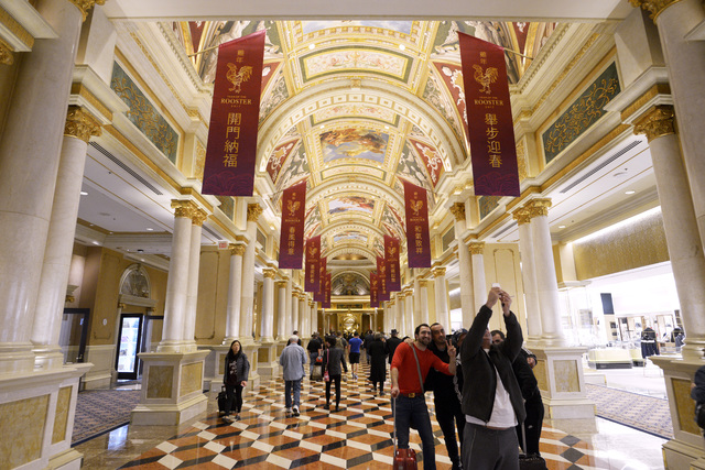 The lobby of the Venetian displays banners celebrating Chinese New Year Friday, Jan. 20, 2017. (Sam Morris/Las Vegas News Bureau)
