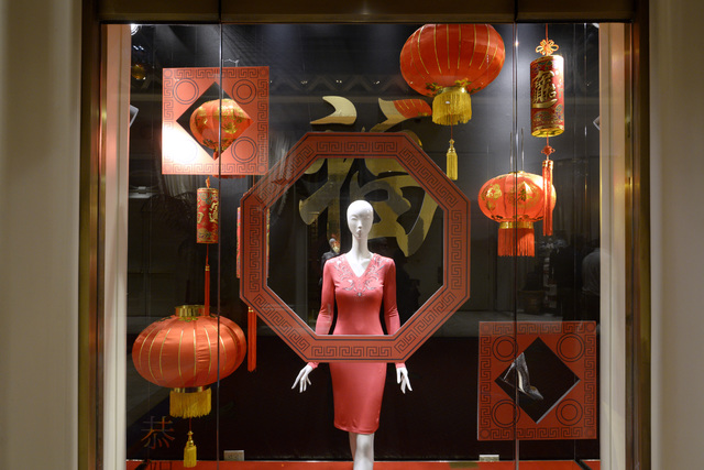 A store display at Wynn is seen decorated for Chinese New Year Friday, Jan. 20, 2017. (Sam Morris/Las Vegas News Bureau)