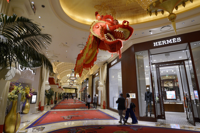 A dragon is seen suspended from the ceiling for Chinese New Year between Wynn and Encore Friday, Jan. 20, 2017. (Sam Morris/Las Vegas News Bureau)