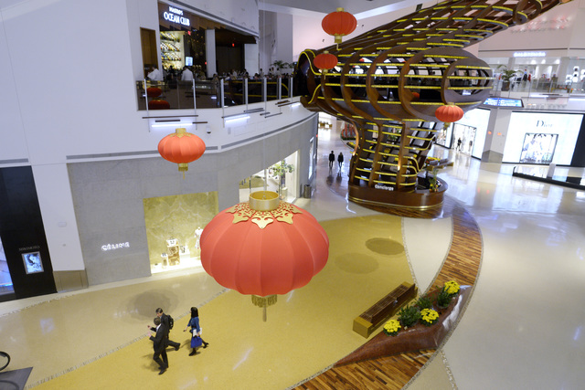 Crystals at City Center is seen decorated for Chinese New Year Friday, Jan. 20, 2017. (Sam Morris/Las Vegas News Bureau)