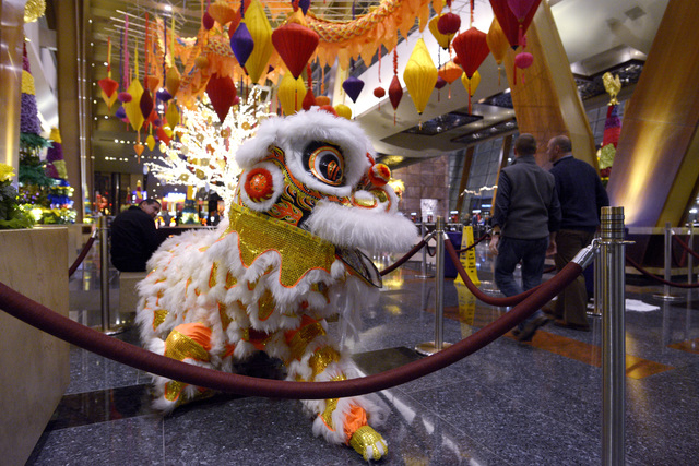 A lion decorates the lobby of Aria for Chinese New Year Friday, Jan. 20, 2017. (Sam Morris/Las Vegas News Bureau)
