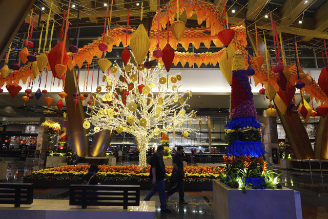 The lobby of Aria is seen decorated for Chinese New Year Friday, Jan. 20, 2017. (Sam Morris/Las Vegas News Bureau)