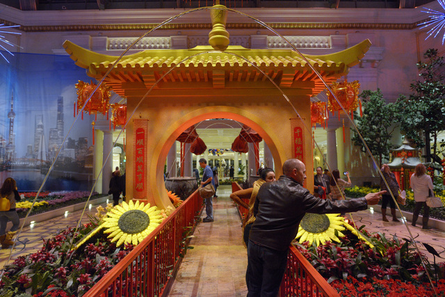 Bellagio Conservatory & Botanical Gardens is seen decorated for Chinese New Year on Friday, Jan. 20, 2017, in Las Vegas. (Sam Morris/Las Vegas News Bureau)