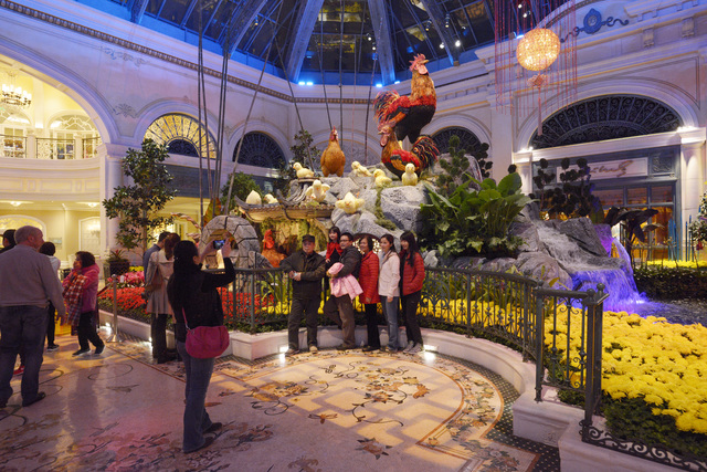 The Bellagio Conservatory is seen decorated for Chinese New Year Friday, Jan. 20, 2017. (Sam Morris/Las Vegas News Bureau)