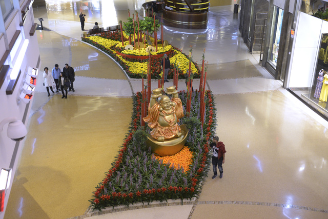 A flower bed is decorated for Chinese New Year at Crystals at CityCenter on Friday, Jan. 20, 2017, in Las Vegas. (Sam Morris/Las Vegas News Bureau)