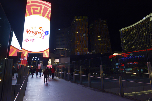 The marquee at Aria displays a message for Chinese New Year Friday, Jan. 20, 2017. (Sam Morris/Las Vegas News Bureau)