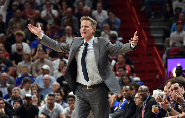 Jan 23, 2017; Miami, FL, USA; Golden State Warriors head coach Steve Kerr reacts during the second half against the Miami Heat at American Airlines Arena. The Heat defeated the Golden State Warrio ...