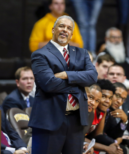 UNLV Runnin' Rebels head coach Marvin Menzies reacts against the Wyoming Cowboys during the second half at Arena-Auditorium. The Cowboys beat the Rebels 66-65. (Troy Babbitt/USA Today Sports)