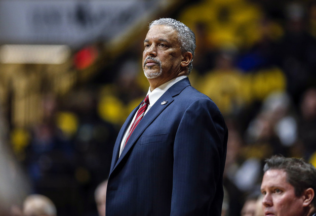 UNLV Runnin' Rebels head coach Marvin Menzies reacts against the Wyoming Cowboys during the first half at Arena-Auditorium. (Troy Babbitt/USA Today Sports)