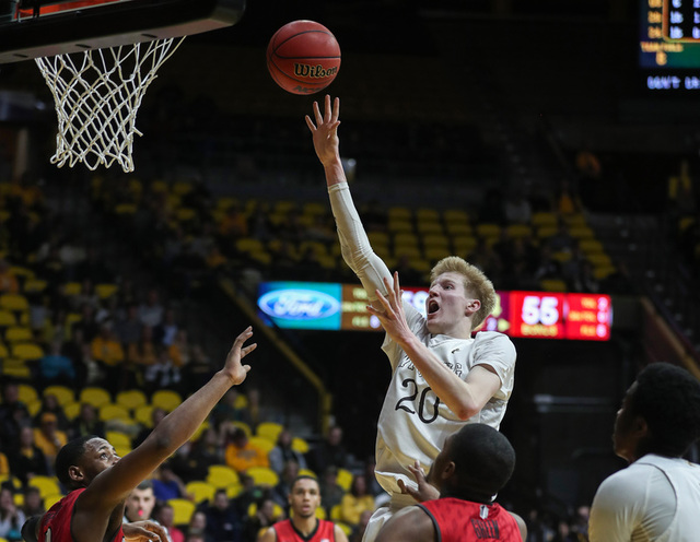 Wyoming Cowboys forward Hayden Dalton (20) shoots against the UNLV Runnin' Rebels during the second half at Arena-Auditorium. The Cowboys beat the Rebels 66-65. (Troy Babbitt/USA Today Sports)