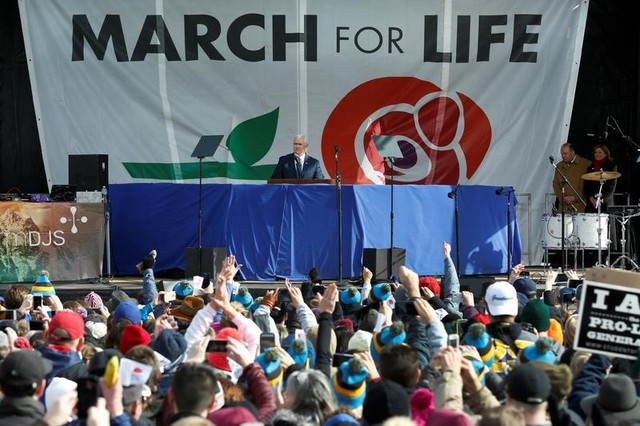 U.S. Vice President Mike Pence speaks at the annual March for Life rally in Washington, DC, U.S. January 27, 2017. REUTERS/Yuri Gripas
