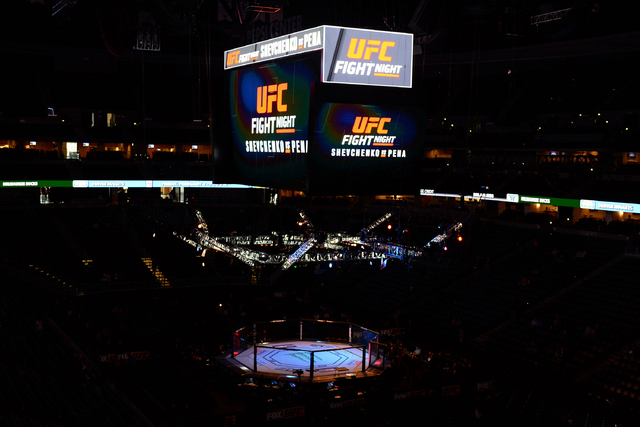 Jan 28, 2017; Denver, CO, USA; General view of the octagon inside the Pepsi Center before the start of the fight between Jason Gonzalez vs J.C. Cottrell (not pictured) during UFC Fight Night. (Ron ...