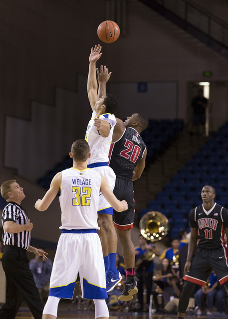 Jan 28, 2017; San Jose, CA, USA; UNLV Rebels forward Christian Jones (20) and San Jose State Spartans forward Brandon Clarke (15) battle for the opening tip off during the first half at San Jose S ...