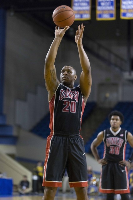 Jan 28, 2017; San Jose, CA, USA; UNLV Rebels forward Christian Jones (20) shoots a free throw against the San Jose State Spartans during the first half at San Jose State Event Center. (Neville E.  ...