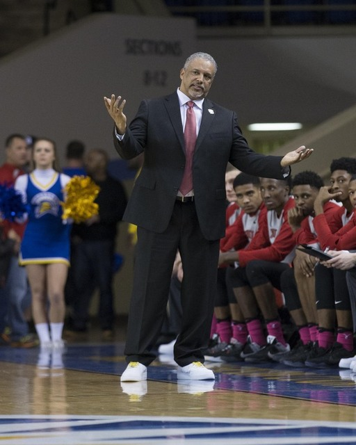 Jan 28, 2017; San Jose, CA, USA; UNLV Rebels head coach Marvin Menzies reacts during the first half against the San Jose State Spartans at San Jose State Event Center. (Neville E. Guard/USA Today  ...